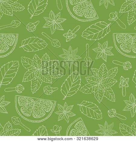 Tea Collection.vector Hand Drawn Seamless Pattern With Mint, Lemons, Clove And Cardamon On A Green B