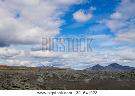 Desolate Landscape Along Central Highlands Of Iceland. Iceland Panorama. Route F907