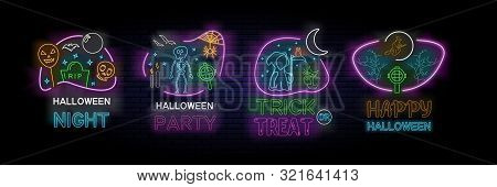 Set Of Four Colorful Halloween Designs For Halloween Night, Halloween Party, Happy Halloween And Tri