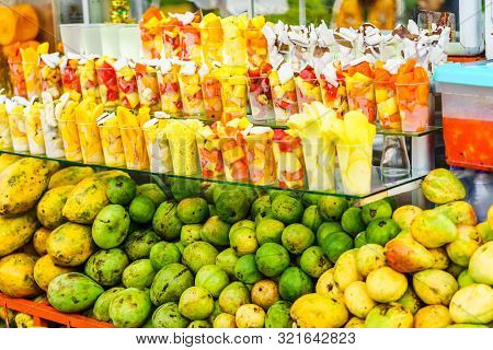 View On Fresh Fruits And Juice On Market In Salento, Colombia