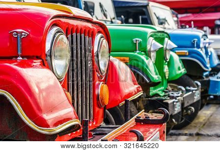 View On Colorful Jeeps In The Historical Center Of Salento, Colombia