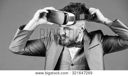 Bearded Man Wear Wireless Vr Glasses. Use Future Technology. Virtual Reality Goggles. Modern Busines