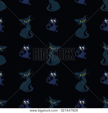 Black Cats Halloween Spooky Vector Repeat Pattern.