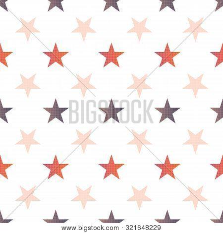 Orange Brown Fall Stars Linen Repeat Pattern