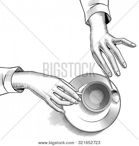 Female hands with a cup of tea and a small spoon on a saucer. Vintage engraving black and white stylized drawing