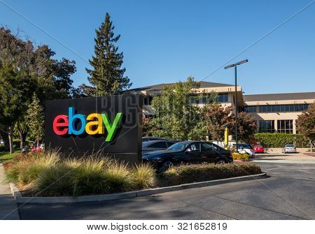 San Jose, USA - September 10, 2018: Ebay outdoor logo at company headquarters in silicone valley