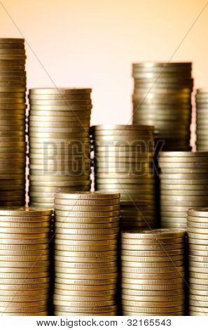 Golden coins in high stacks