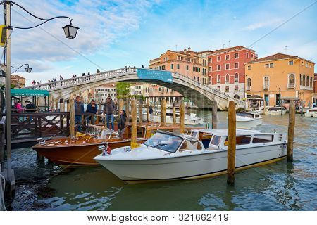 VENICE, ITALY - CIRCA MAY, 2019: view of the Ponte degli Scalzi or Ponte dei Scalsi in Venice, Italy.
