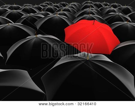unique red umbrella