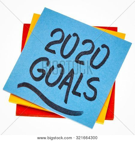 2020 goals reminder  - handwriting on an isolated sticky note, New Year resolutions and goal setting concept