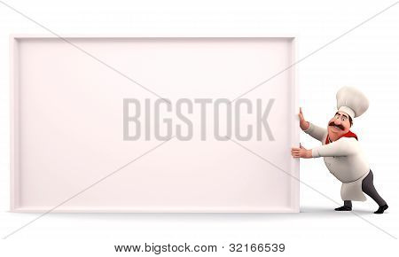 3D illustration of Happy chef pushing sign isolated with white background poster