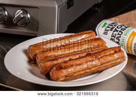 Morgantown, Wv - 11 September 2019: Beyond Meat Plant Based Sausages After Being Grilled On Griddle