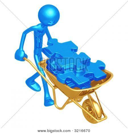 Wheelbarrow Full Of Puzzle Pieces