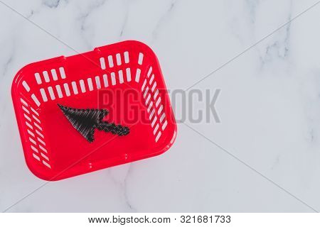 Add To Cart And Online Shopping Concept, Shopping Basket And Mouse Pointer Icon Inside Of It With Co