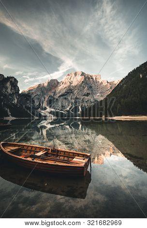 Lake Braies Also Known As Pragser Wildsee Or Lago Di Braies In Dolomites Mountains, Sudtirol, Italy.
