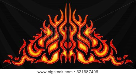 Blazing Fire Decals For The Hood Of The Car. Hot Rod Racing Flames. Vinyl Ready Tribal Flames. Vehic