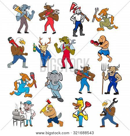 Set Or Collection Of Cartoon Character Mascot Style Illustration Of Different Animals Like Bull, Dog