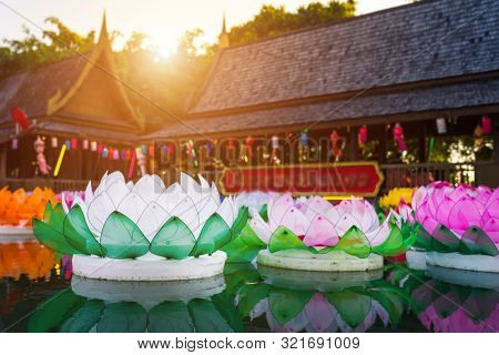 Beautiful Kratong Made Of Foam Is Floating On The Water For Loy Kratong Festival Or Thai New Year  A