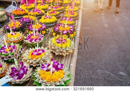 Kratong Of Floating Basket By Banana Leaf For Loy Kratong Festival Or Thai New Year  And River Godde