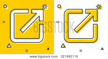 Black Open In New Window Icon Isolated On Yellow And White Background. Open Another Tab Button Sign.