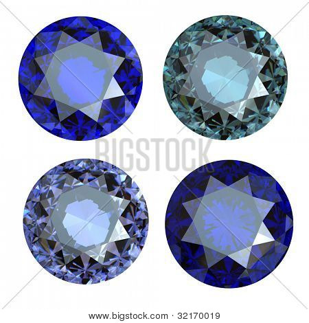 Round blue gemstone isolated on white background.  Benitoit. Sapphire. Iolite.Tanzanite. amethyst