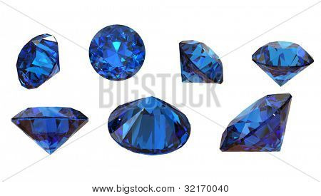 Round blue gemstone isolated on white background.  Benitoit. Sapphire. Iolite.Tanzanite poster