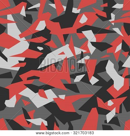 Geometric Camouflage Seamless Pattern. Urban Military Clothing Style, Masking Camo Repeat Print. Gre