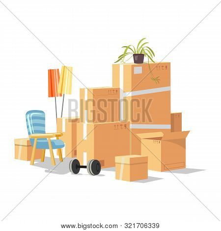 Moving To New House, Room, Apartment With Home Furniture, Things In Cardboard Boxes, Plant, Barbell,