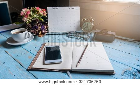 Appointment Calendar Concept.desktop Calender 2020,cup Of Coffee Place On Office Desk.notebook For P