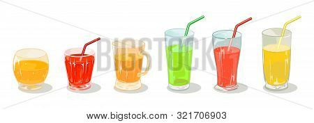 Green, Yellow, Orange, Red Beverages In Different Sized Glassware With Straws. Multicolor Delicious
