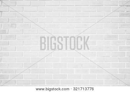 Wall White Brick Wall Texture Background. Brickwork Or Stonework Flooring Interior Rock Old Pattern