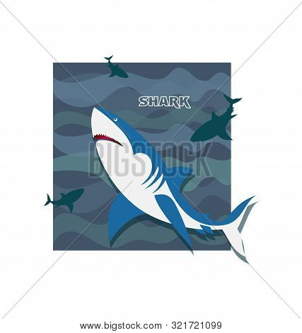 Shark. Flock Of Frolicking Sharks. Poster. Development Of Emblems For A Thematic Site, Diving Club A
