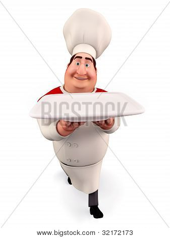 3D illustration of happy Chef walking with dish isolated with white background poster