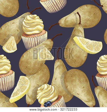Vector Of Seamless Pattern Scattered Lemons, Pears, Crumbly Gentle Wet Biscuit Cupcakes, Stunning Cr