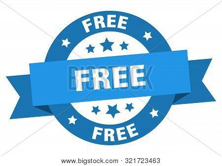 Free Ribbon. Free Round Blue Sign. Free