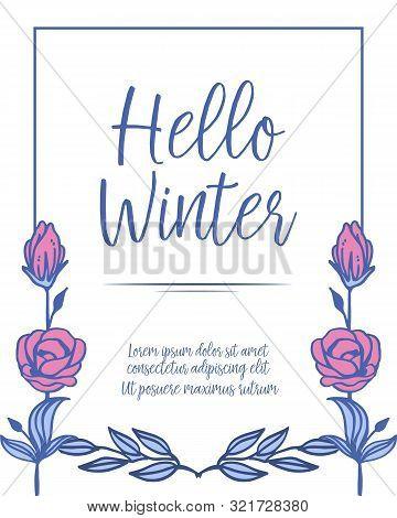 Card Frame Hello Winter With Pattern Of Flower Leaf Elegant. Vector