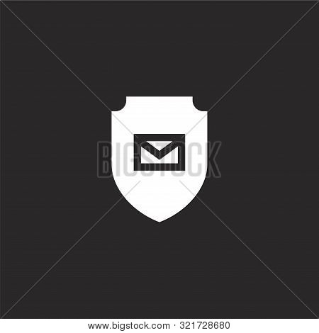 Emails Icon. Emails Icon Vector Flat Illustration For Graphic And Web Design Isolated On Black Backg