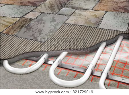 Warm Floor Heating With Tiles And Pipes Sectional View 3d Illustration