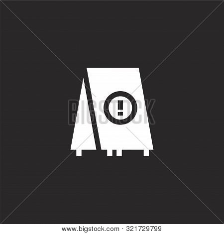 Wet Floor Icon. Wet Floor Icon Vector Flat Illustration For Graphic And Web Design Isolated On Black