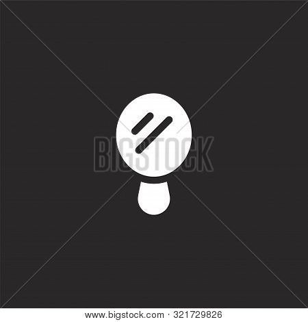 Mirror Icon. Mirror Icon Vector Flat Illustration For Graphic And Web Design Isolated On Black Backg