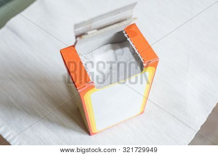 Baking Soda In A Paper Box. Packaging Of Soda In The Kitchen
