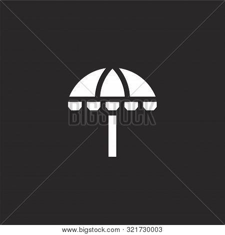Sun Umbrella Icon. Sun Umbrella Icon Vector Flat Illustration For Graphic And Web Design Isolated On