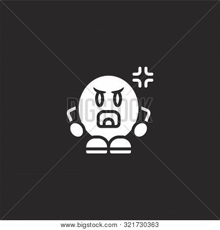 Shouting Icon. Shouting Icon Vector Flat Illustration For Graphic And Web Design Isolated On Black B