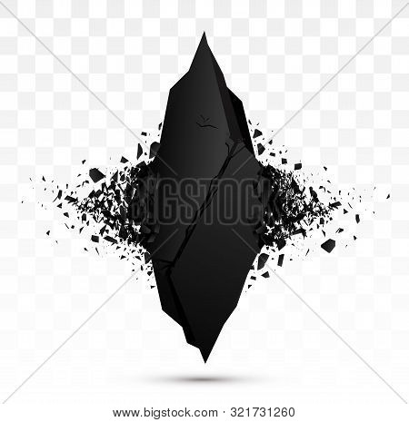 Square Black Stone With Explosive Effect. Vector Banner