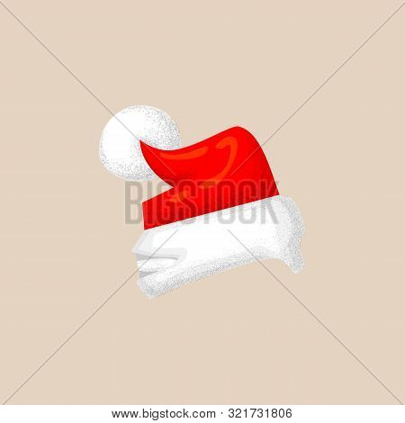Christmas Photo Prop Booth Mask Collection. Cute Santa Hat Icon With Texture, Red Hat And White Pomp
