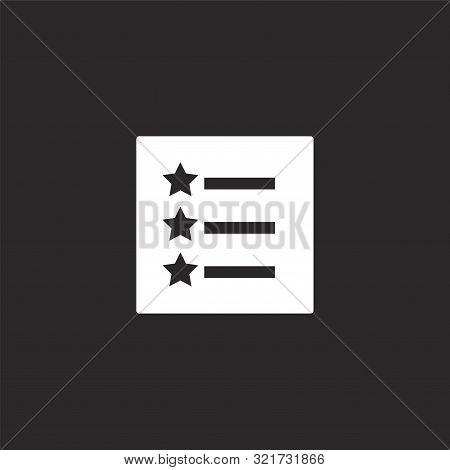 List Icon. List Icon Vector Flat Illustration For Graphic And Web Design Isolated On Black Backgroun