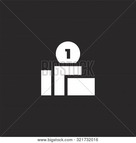 Podium Icon. Podium Icon Vector Flat Illustration For Graphic And Web Design Isolated On Black Backg
