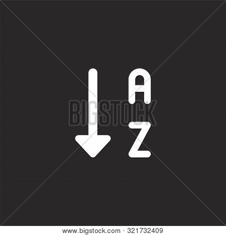 Sort Icon. Sort Icon Vector Flat Illustration For Graphic And Web Design Isolated On Black Backgroun