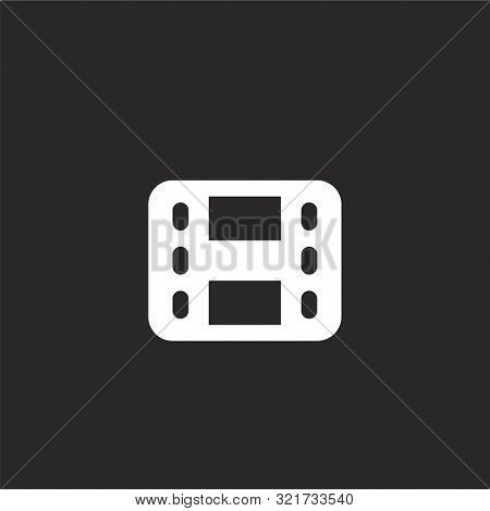Film Strip Icon. Film Strip Icon Vector Flat Illustration For Graphic And Web Design Isolated On Bla