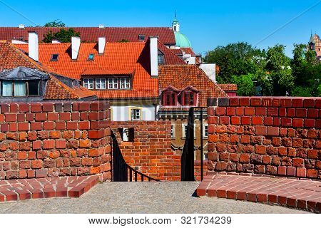 Warsaw, Poland Barbican Or Barbakan Medieval Outpost With The Defense Walls In Historic Old Town Qua